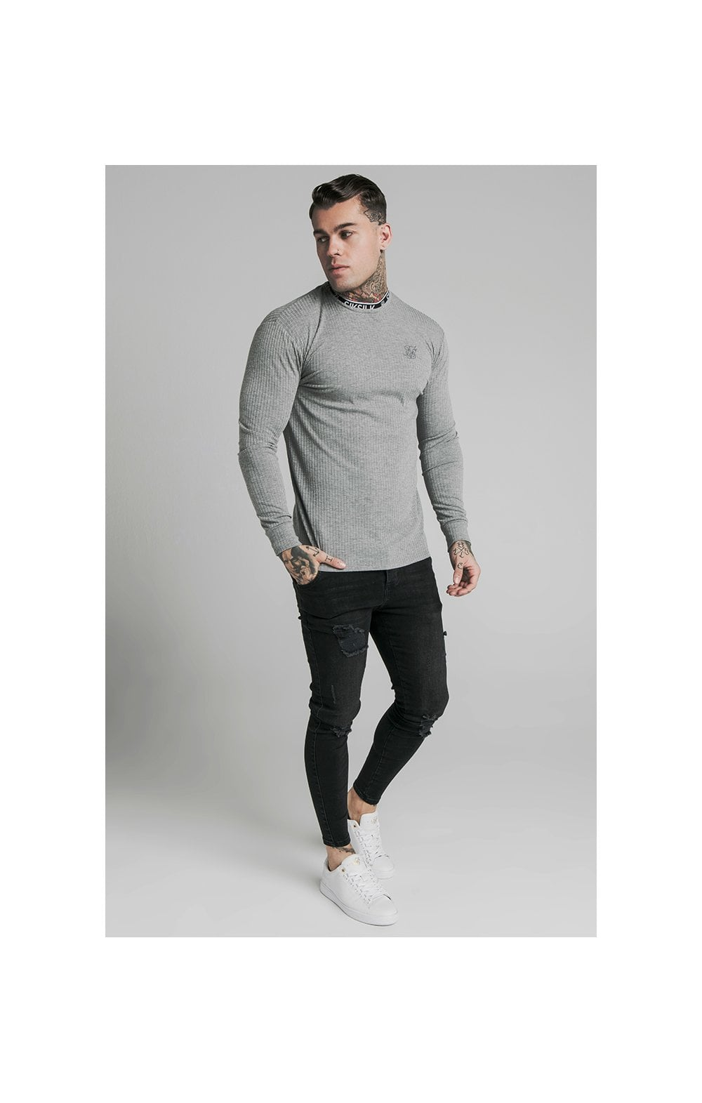 Load image into Gallery viewer, SikSilk L/S Rib Knit Tee - Grey (3)