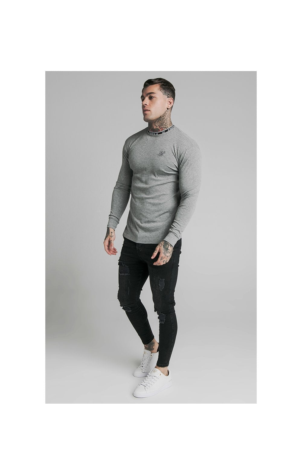 Load image into Gallery viewer, SikSilk L/S Rib Knit Tee - Grey (4)