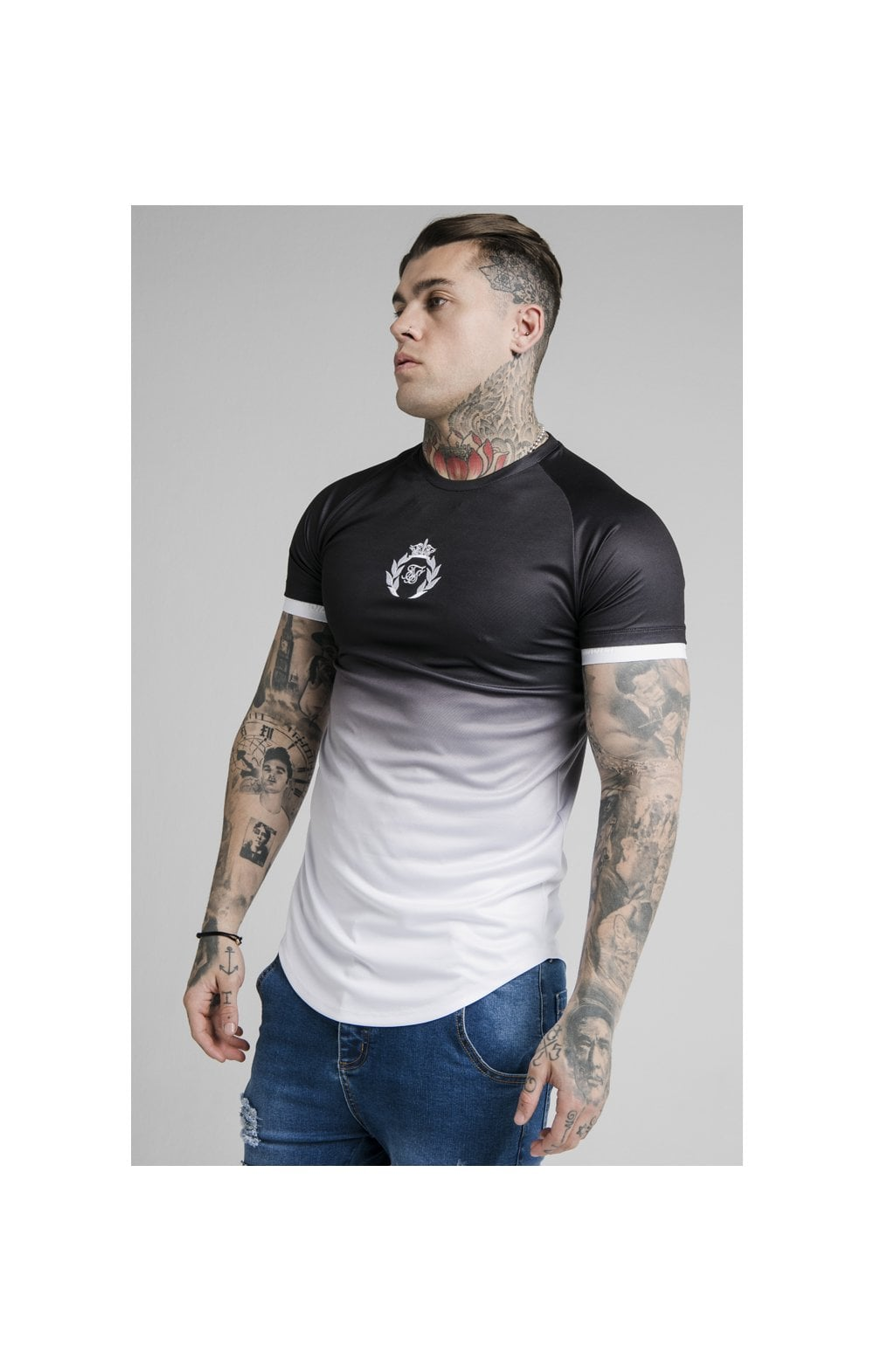 Load image into Gallery viewer, SikSilk S/S Prestige Fade Inset Tech Tee - Black & White