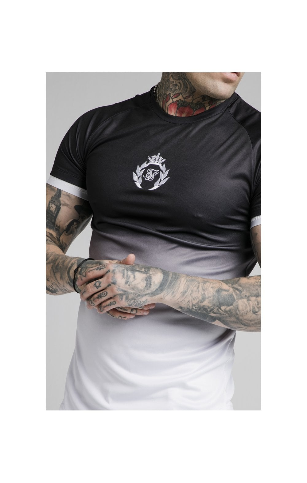 Load image into Gallery viewer, SikSilk S/S Prestige Fade Inset Tech Tee - Black & White (1)