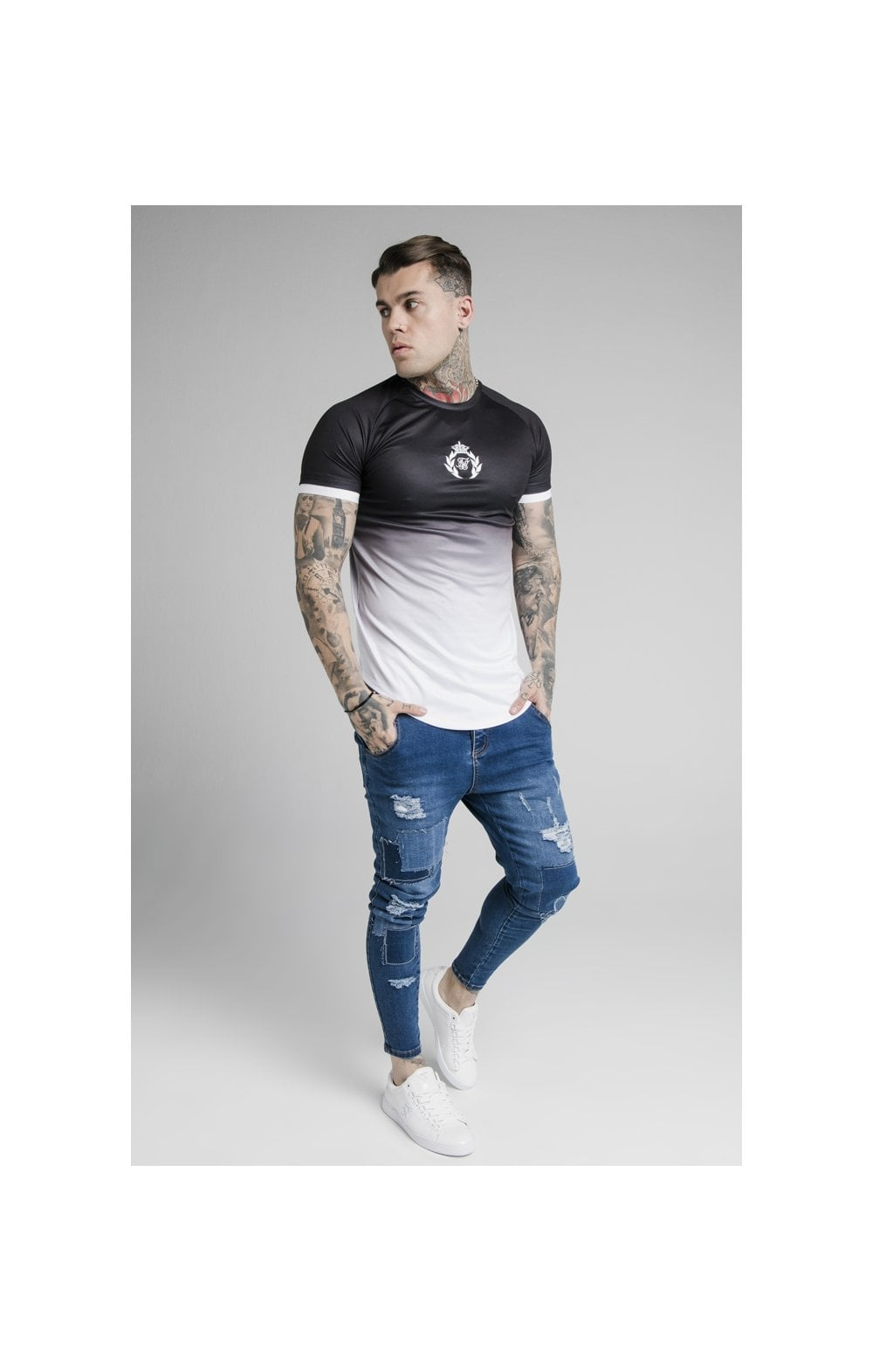 Load image into Gallery viewer, SikSilk S/S Prestige Fade Inset Tech Tee - Black & White (2)
