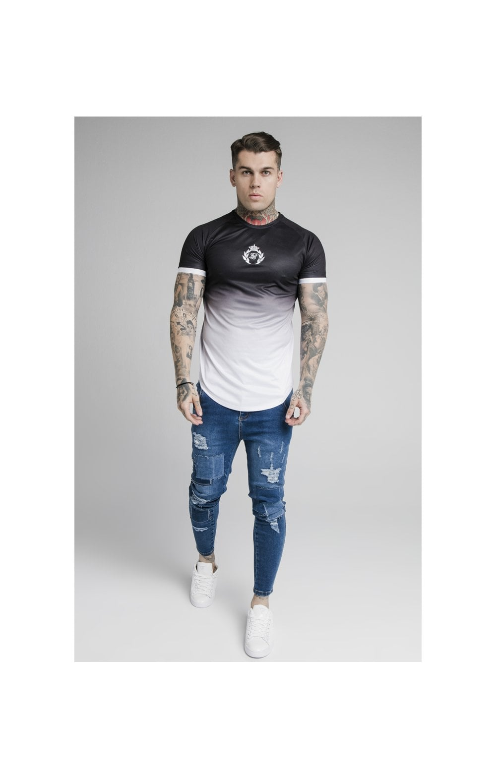 Load image into Gallery viewer, SikSilk S/S Prestige Fade Inset Tech Tee - Black & White (3)