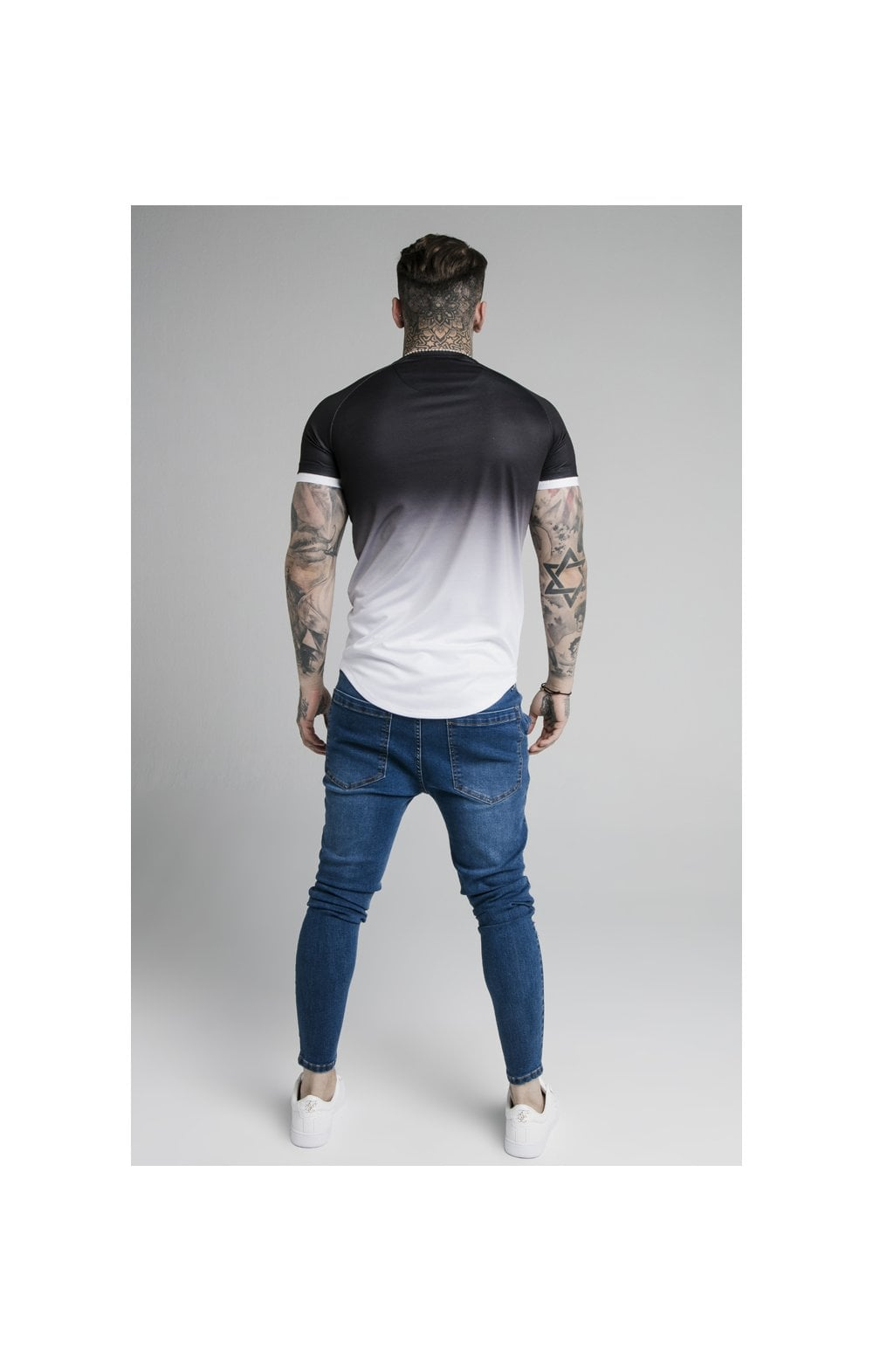 Load image into Gallery viewer, SikSilk S/S Prestige Fade Inset Tech Tee - Black & White (4)