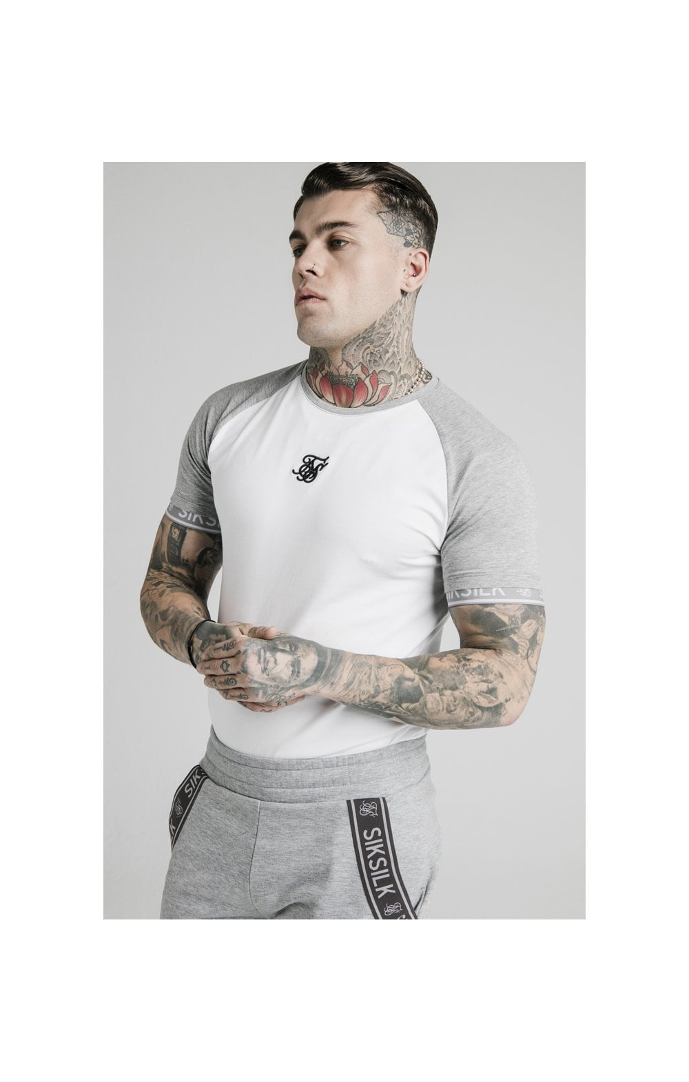 Load image into Gallery viewer, SikSilk S/S Raglan Inset Cuff Gym Tee - White & Grey Marl