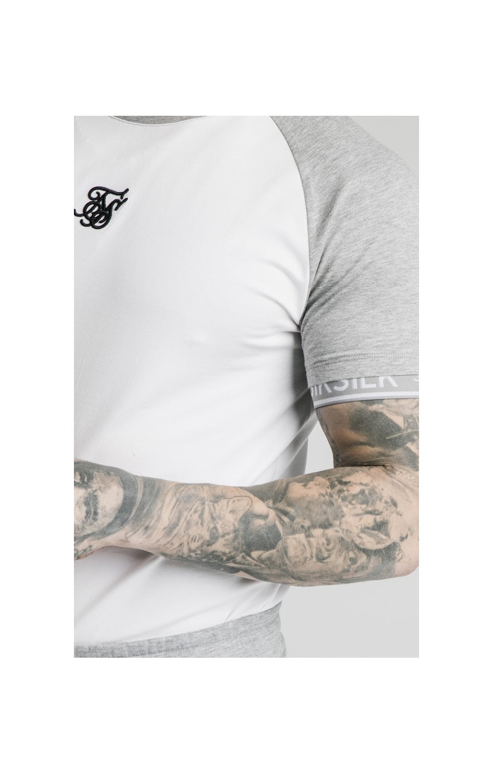 Load image into Gallery viewer, SikSilk S/S Raglan Inset Cuff Gym Tee - White & Grey Marl (1)