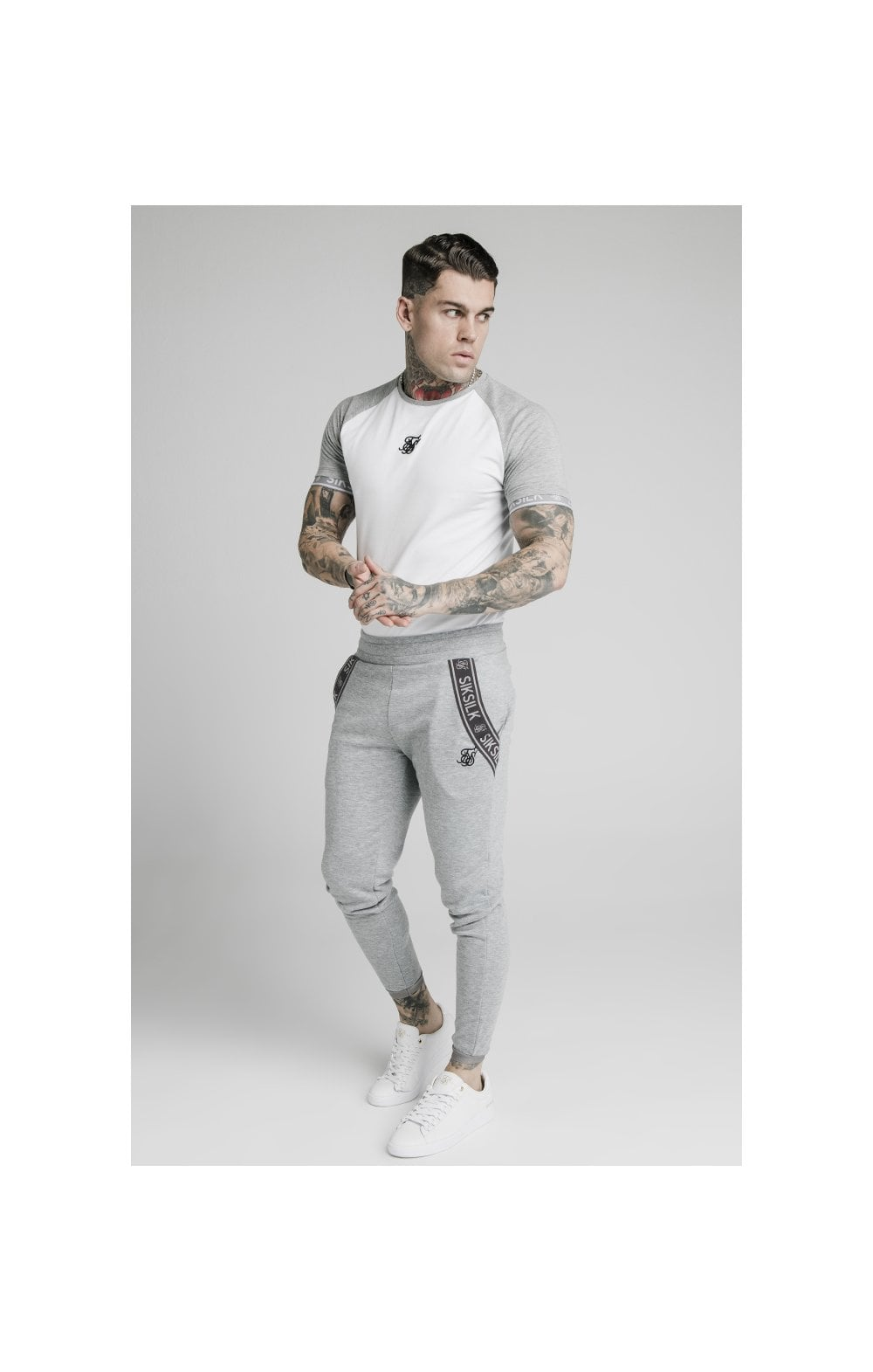 Load image into Gallery viewer, SikSilk S/S Raglan Inset Cuff Gym Tee - White & Grey Marl (2)