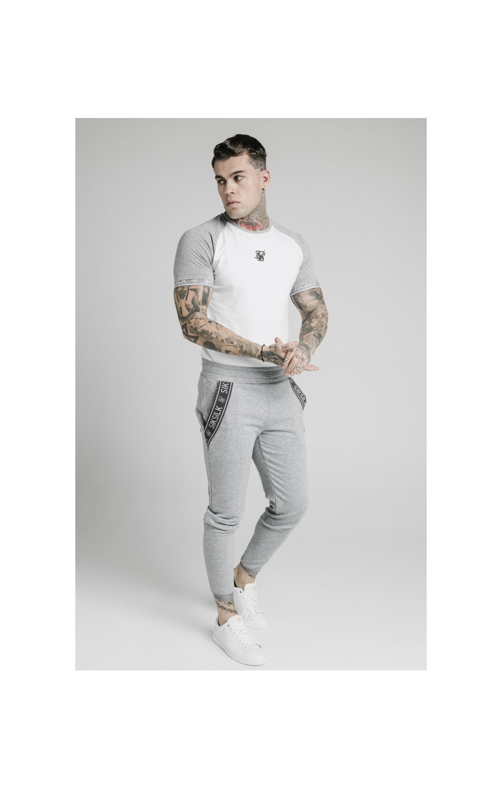 Load image into Gallery viewer, SikSilk S/S Raglan Inset Cuff Gym Tee - White & Grey Marl (3)