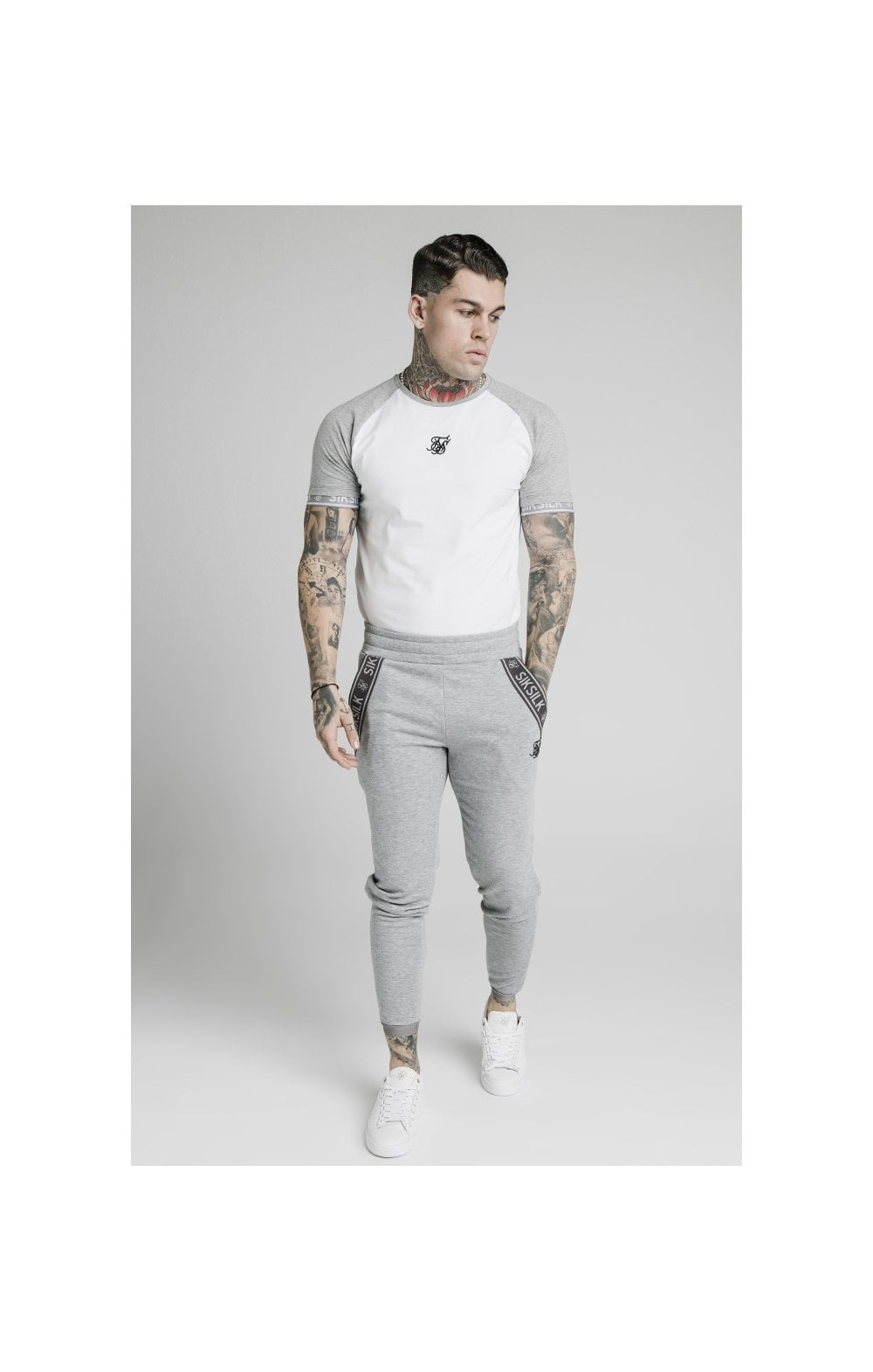 Load image into Gallery viewer, SikSilk S/S Raglan Inset Cuff Gym Tee - White & Grey Marl (4)