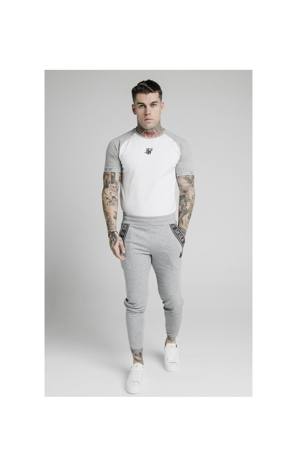 Load image into Gallery viewer, SikSilk S/S Raglan Inset Cuff Gym Tee - White & Grey Marl (5)
