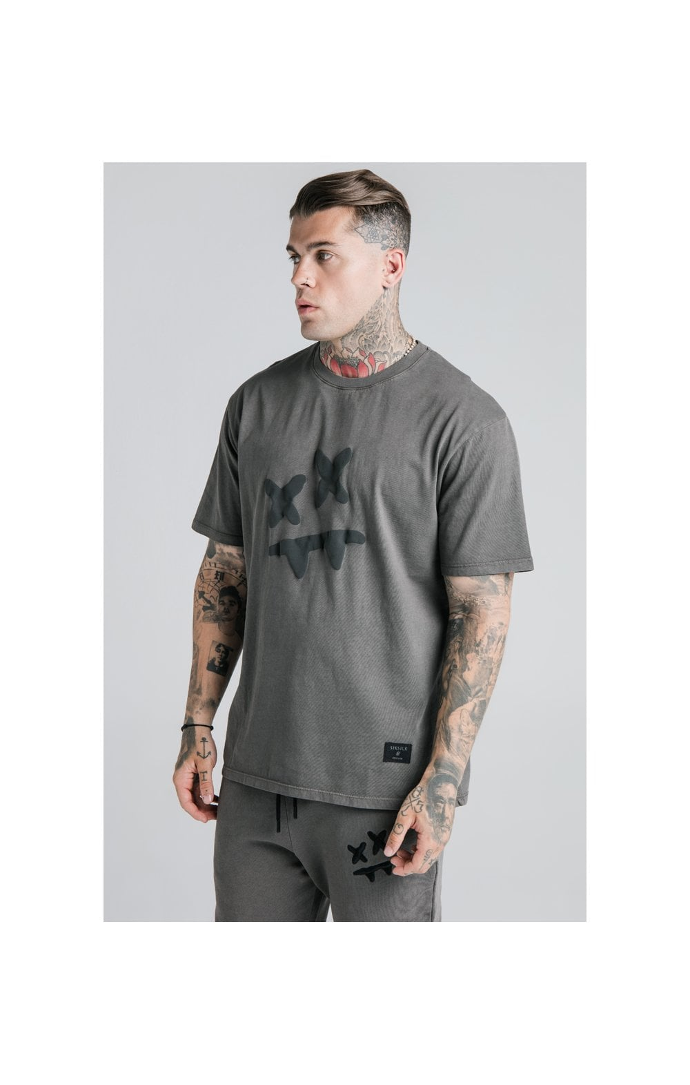 SikSilk X Steve Aoki S/S Oversize Essential Tee – Washed Grey (1)