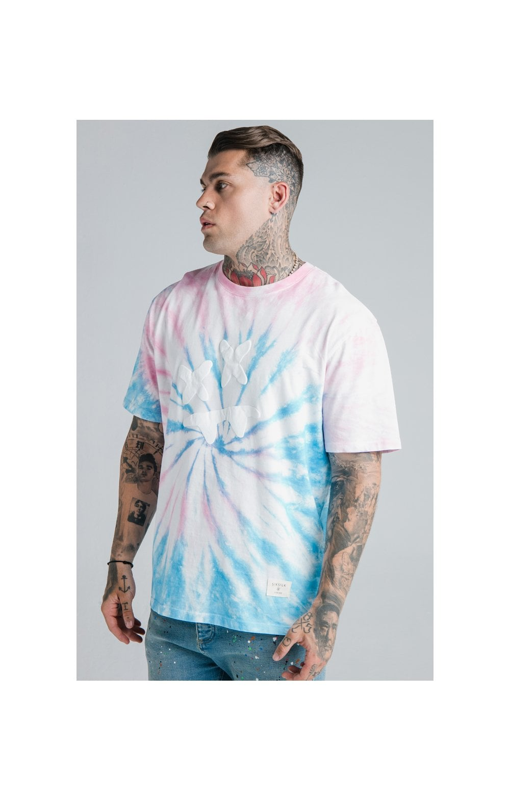 Load image into Gallery viewer, SikSilk X Steve Aoki S/S Oversize Essential Tee – Baby Pink & Blue Tie Dye (2)