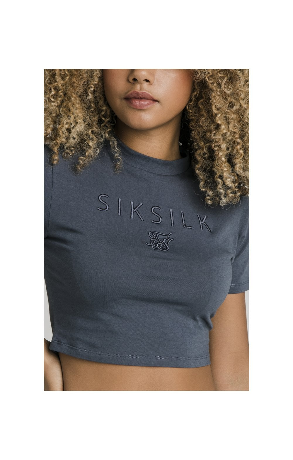 SikSilk Luxury Embroidered Crop Tee - Grey (1)