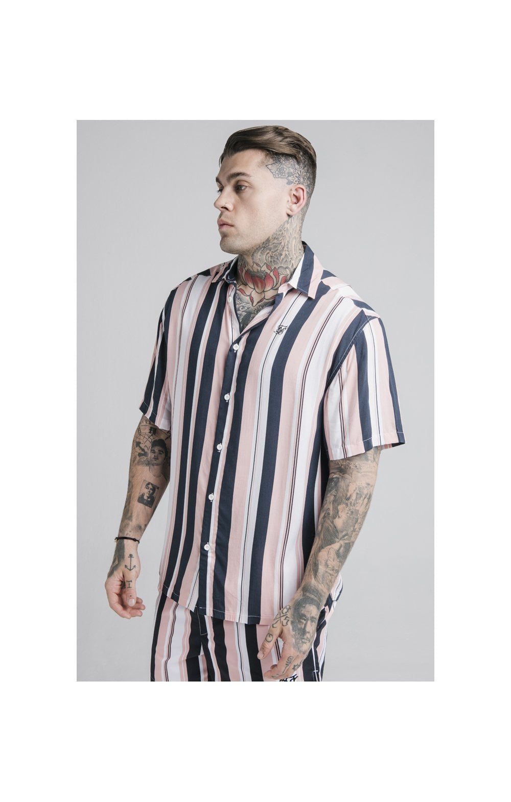 SikSilk Loose Fit Resort Shirt – Navy, Pink & White