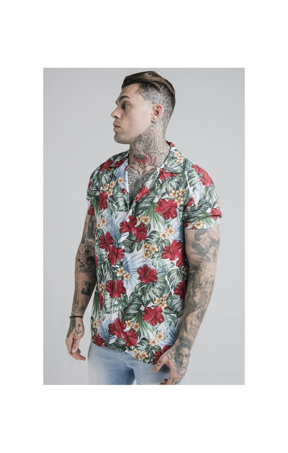 SikSilk 70's Floral Resort Shirt – White