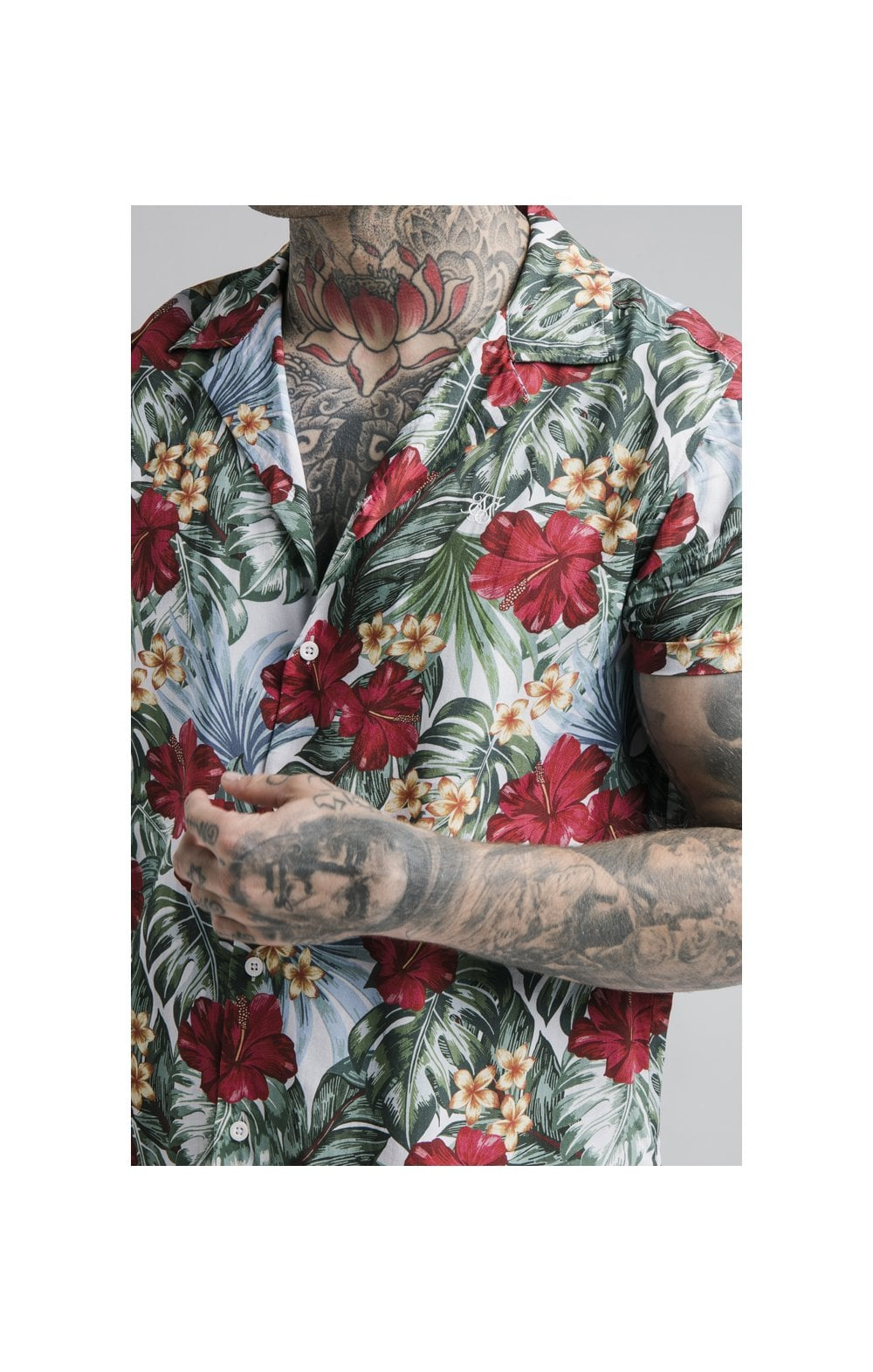 SikSilk 70's Floral Resort Shirt – White (4)