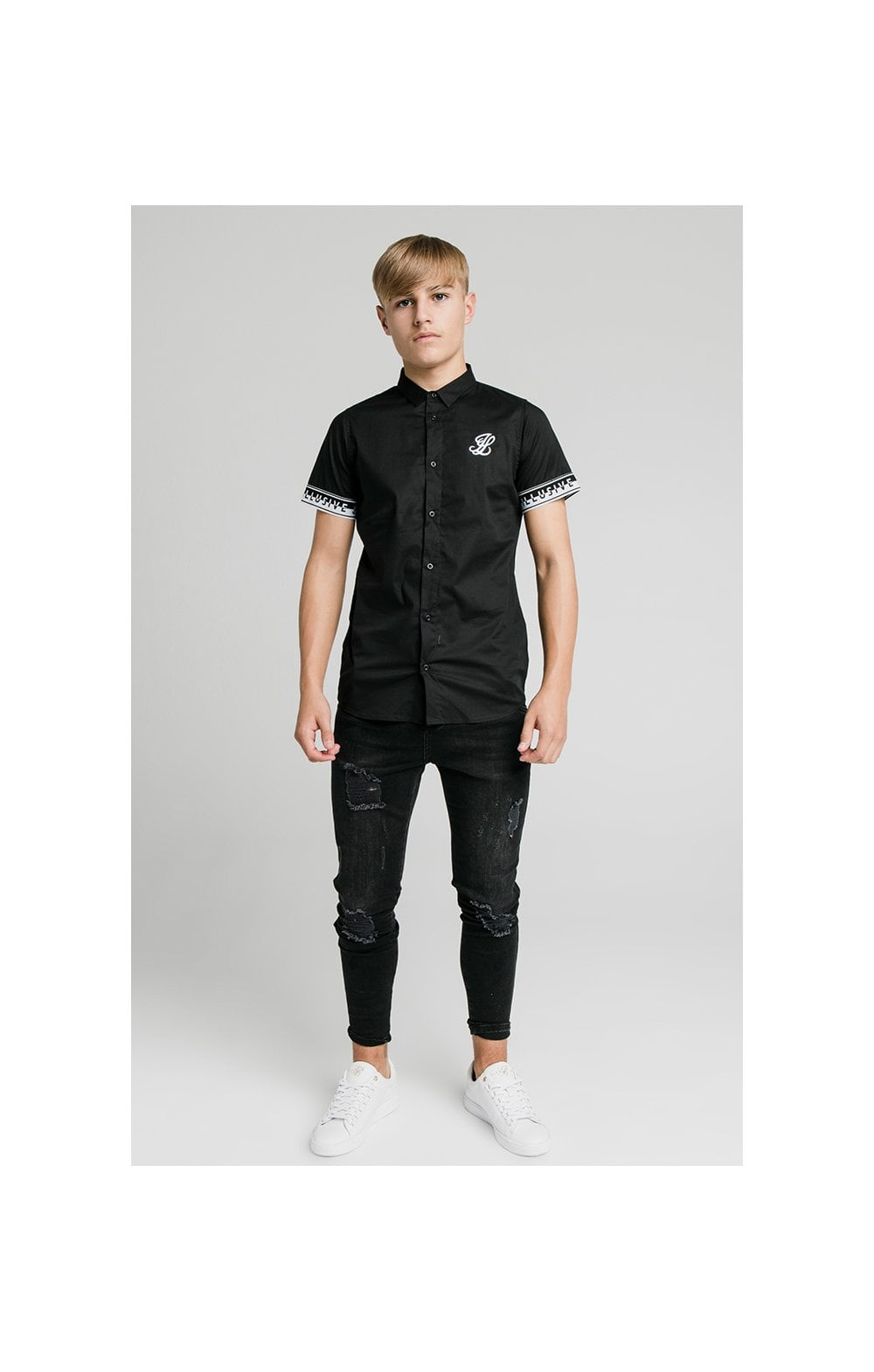 Illusive London Contrast Tape S/S Shirt - Black (1)