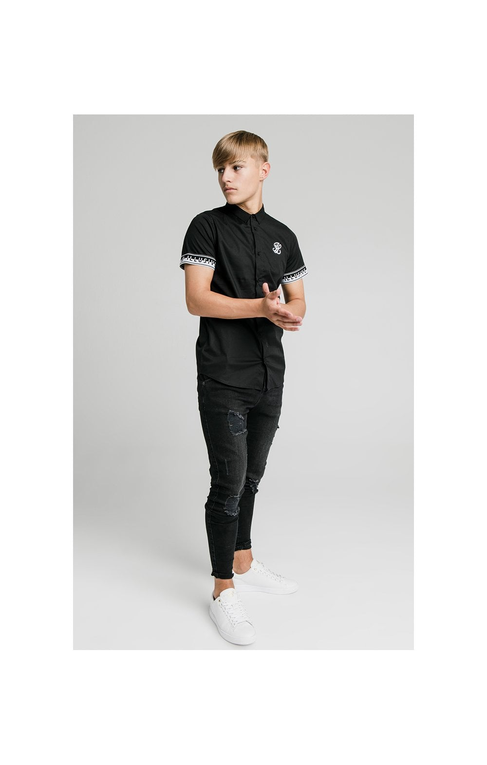 Illusive London Contrast Tape S/S Shirt - Black (2)