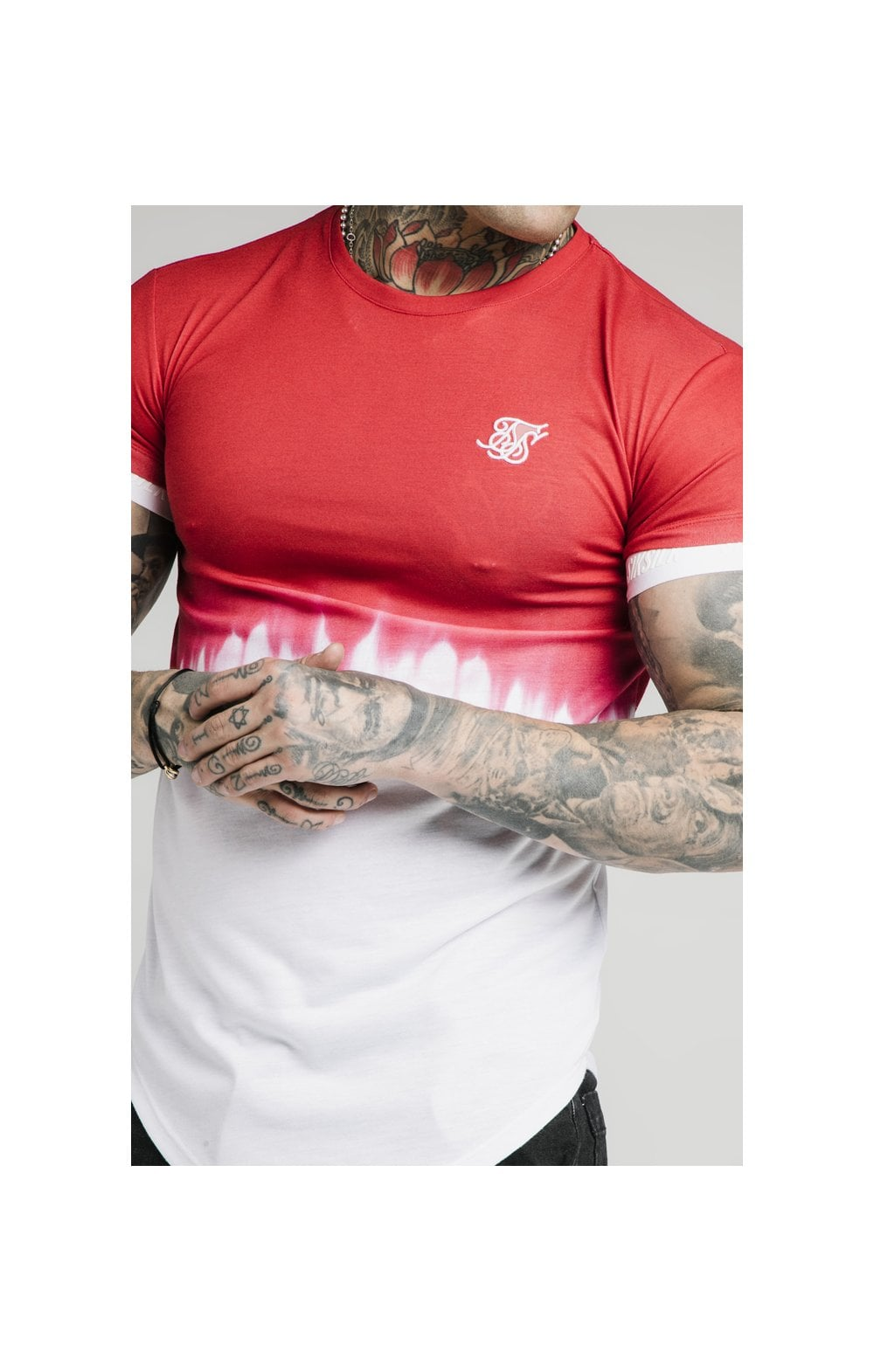 Load image into Gallery viewer, SikSilk S/S Dip Dye Tee  – Red & White (1)