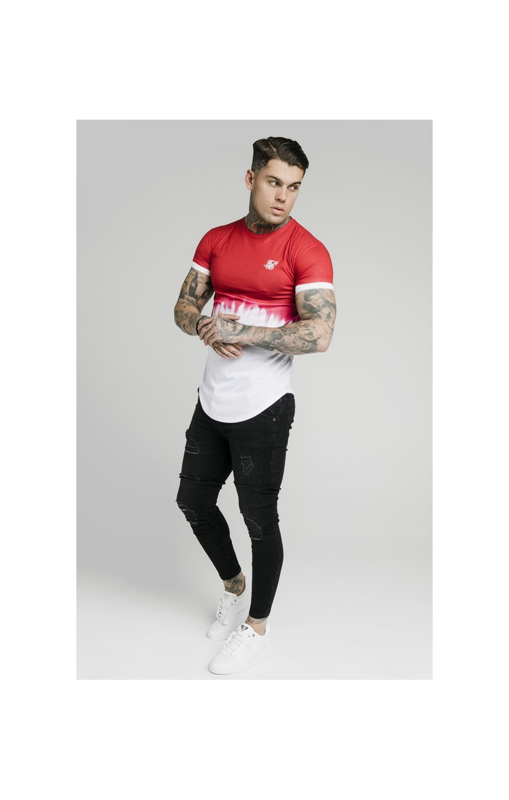 Load image into Gallery viewer, SikSilk S/S Dip Dye Tee  – Red & White (2)
