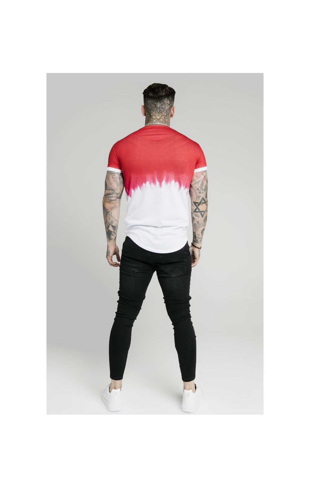 Load image into Gallery viewer, SikSilk S/S Dip Dye Tee  – Red & White (4)