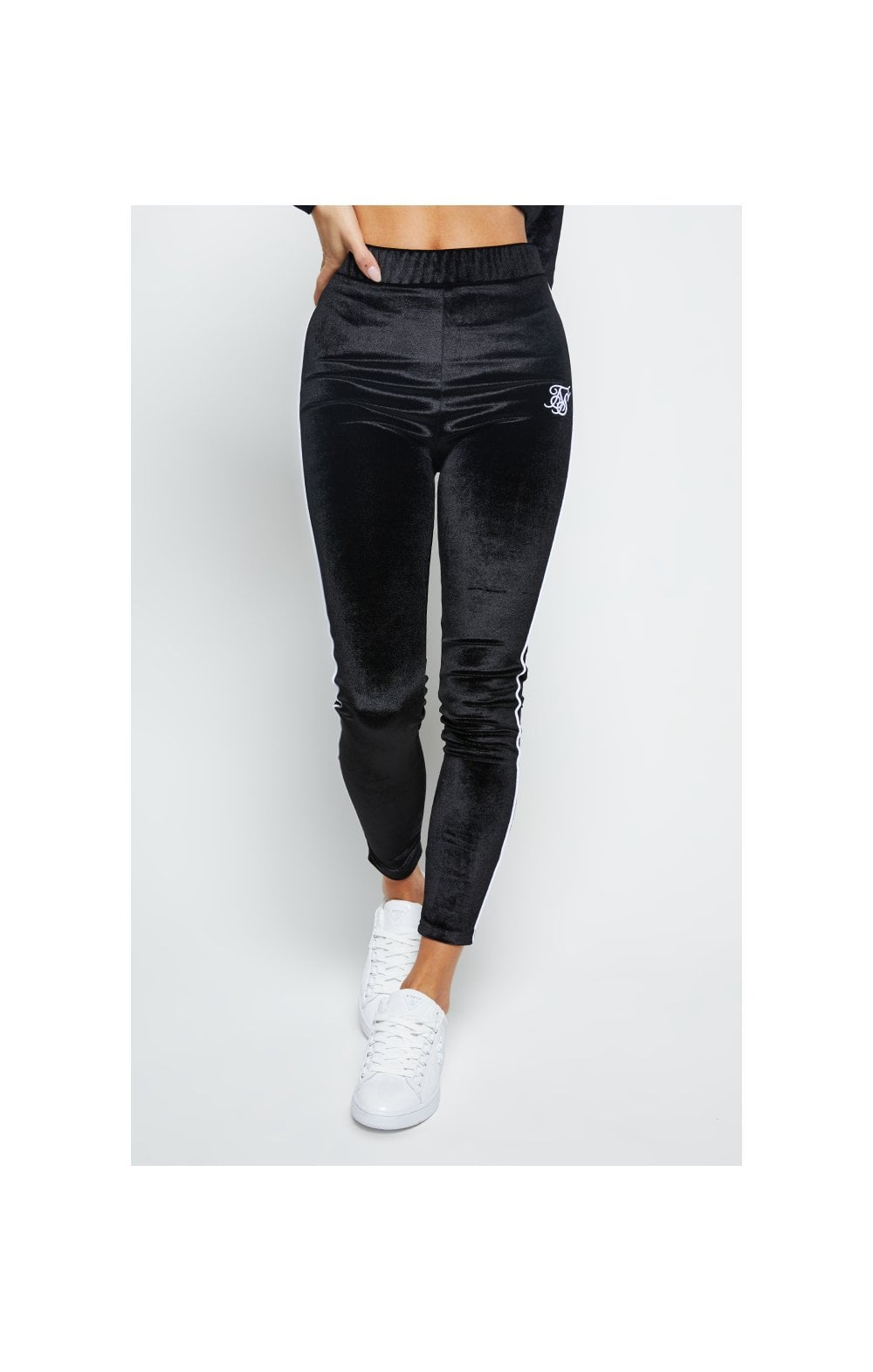 SikSilk Velour Piping Leggings - Black