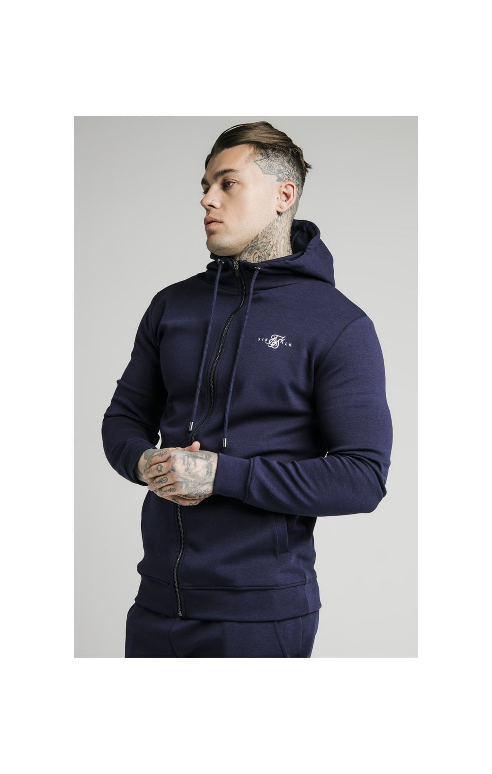 SikSilk Zip Through Muscle Fit Hoodie – Navy