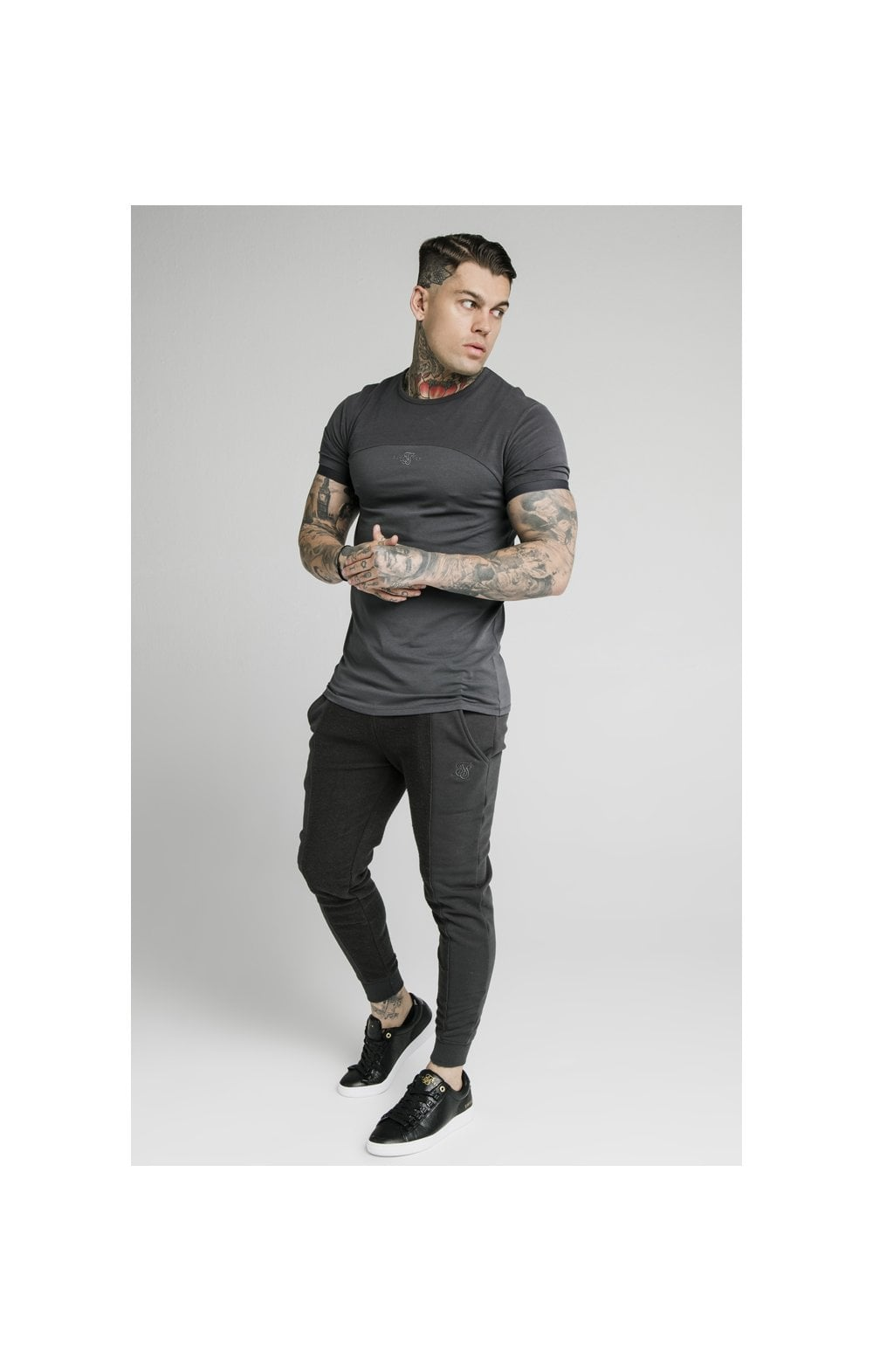 SikSilk Half & Half Fitted Jogger - Washed Grey (3)