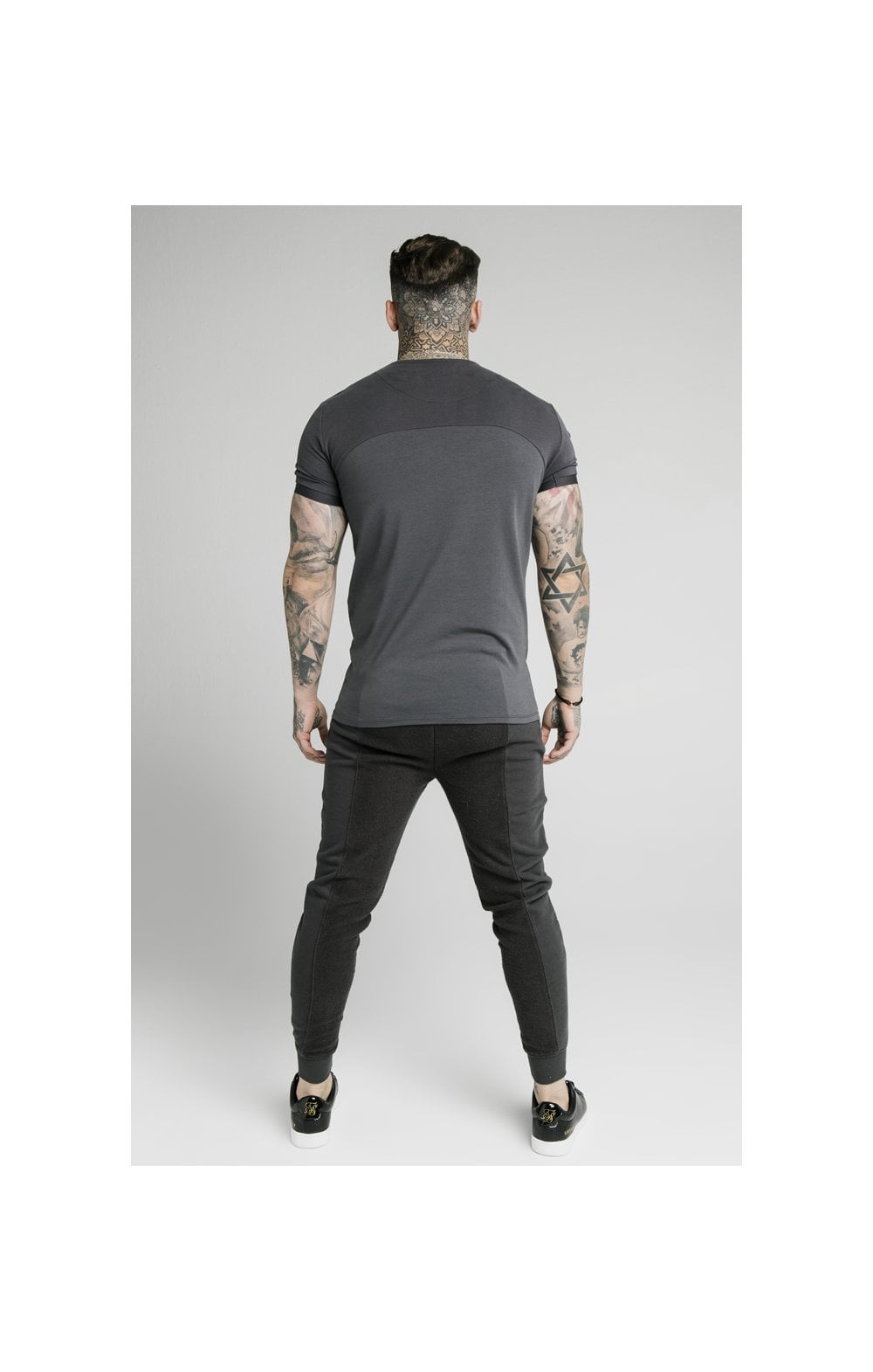 SikSilk Half & Half Fitted Jogger - Washed Grey (5)