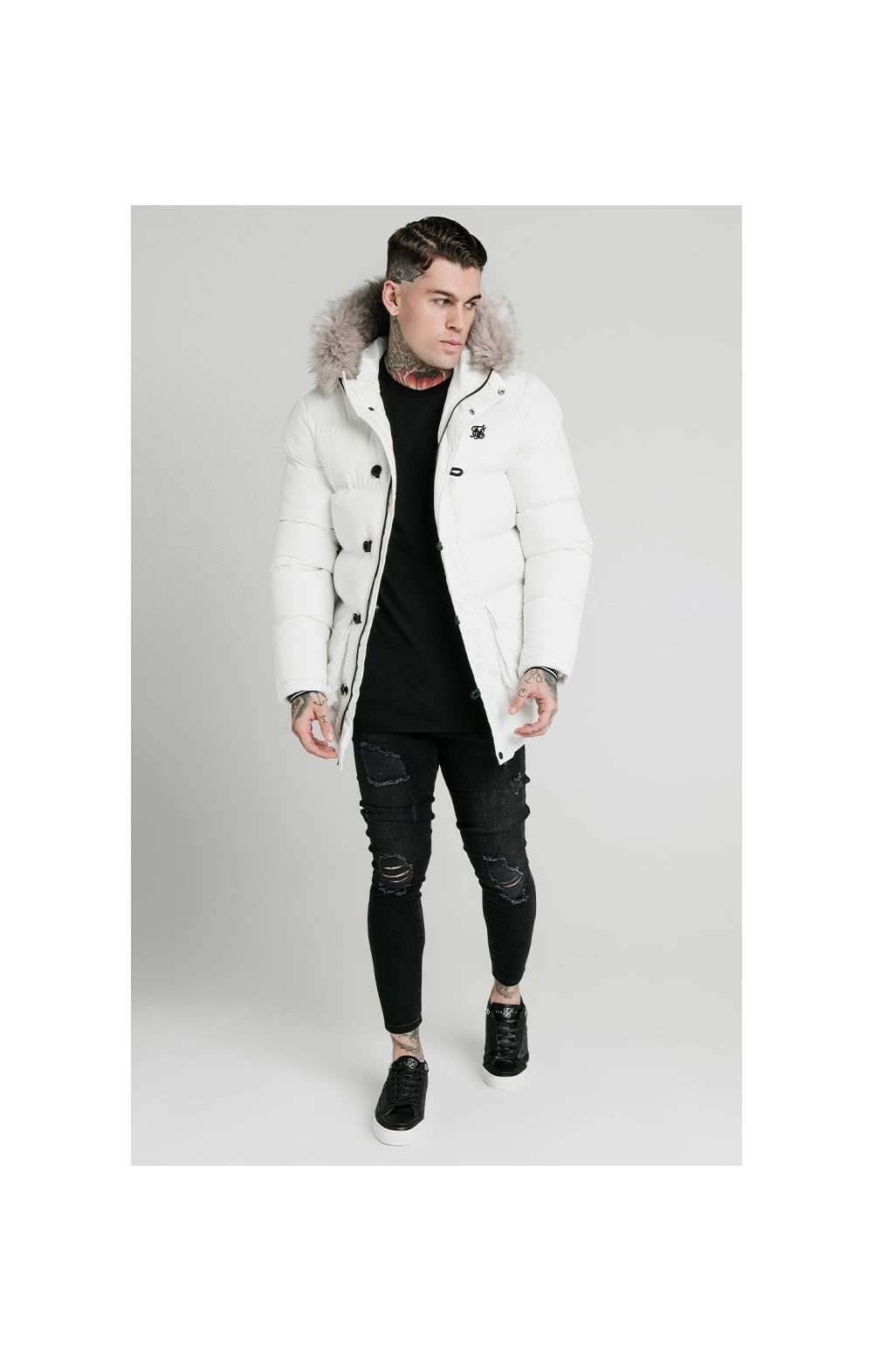 SikSilk Rip Stop Puff Parka - White