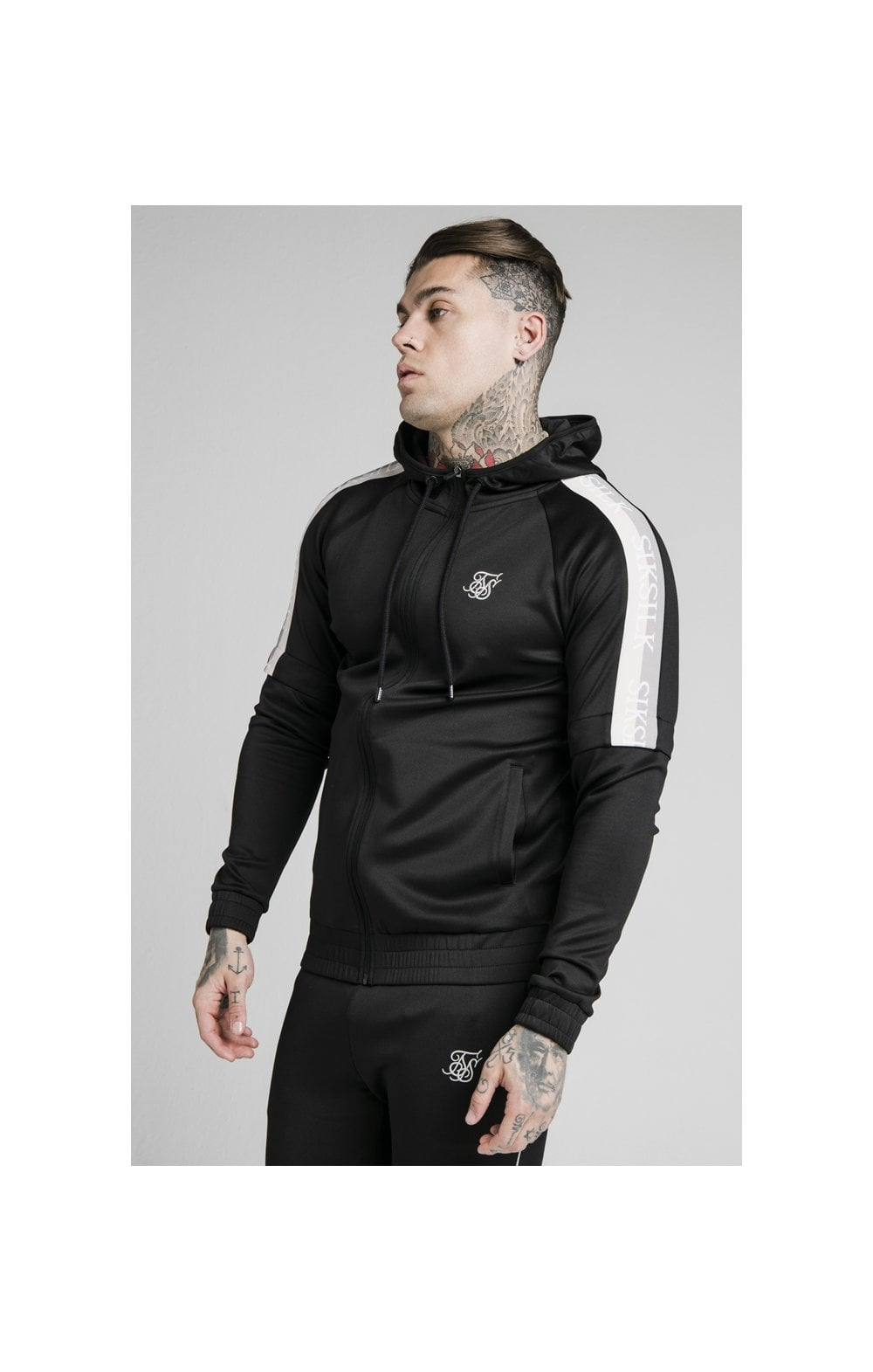 SikSilk Zip Through Hoodie Detachable Sleeves - Black (1)