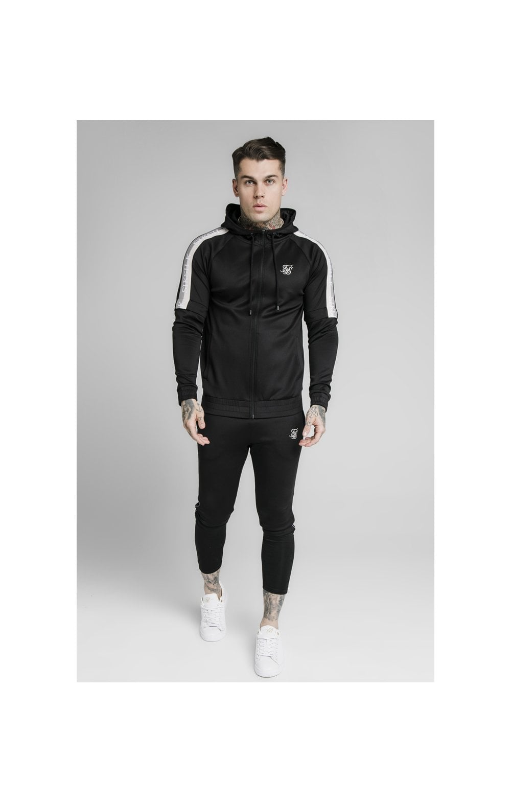 SikSilk Zip Through Hoodie Detachable Sleeves - Black (2)