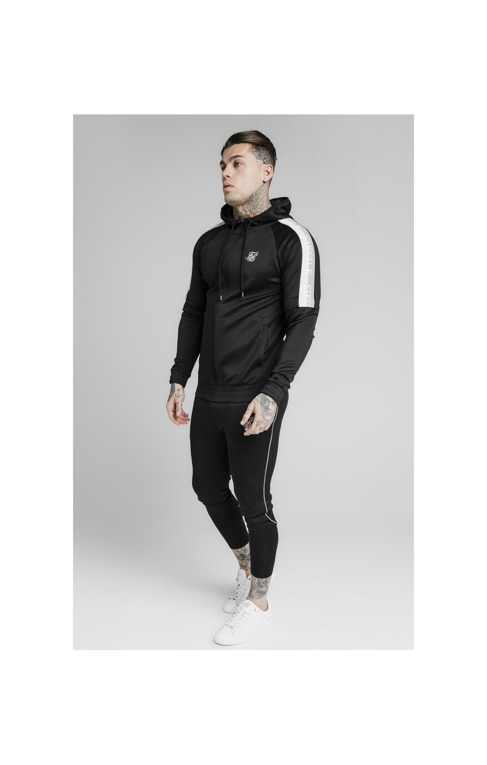 SikSilk Zip Through Hoodie Detachable Sleeves - Black (3)