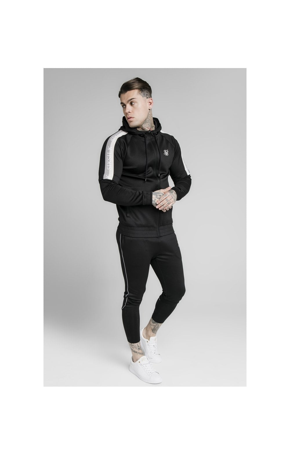 SikSilk Zip Through Hoodie Detachable Sleeves - Black (4)