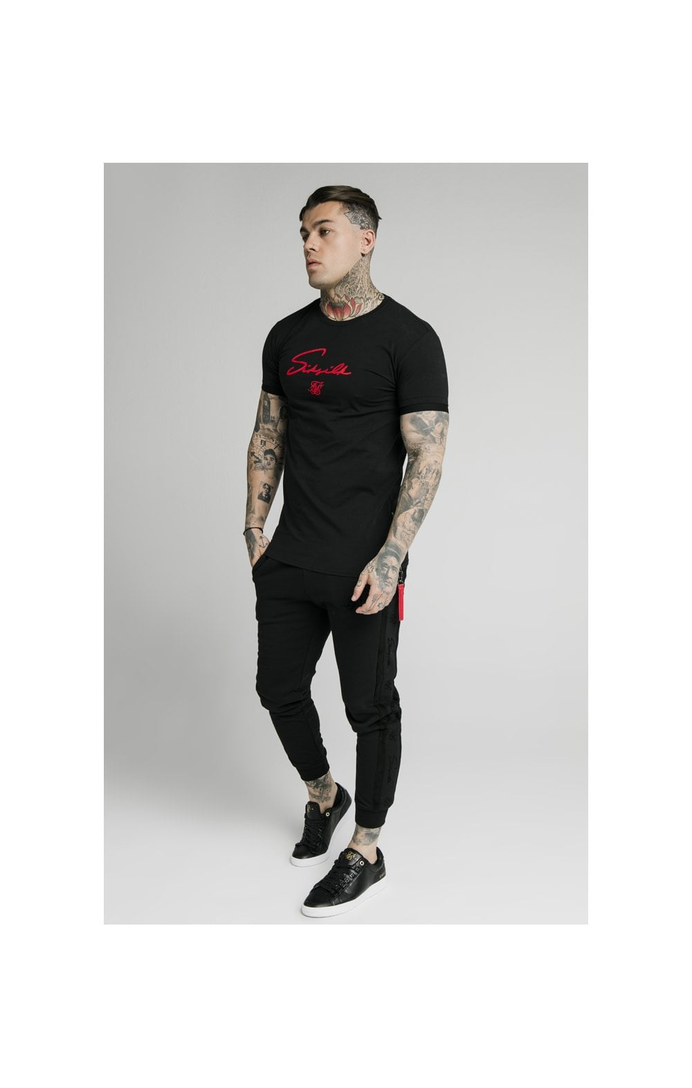 Load image into Gallery viewer, SikSilk S/S Signature Flock Tee - Black (3)
