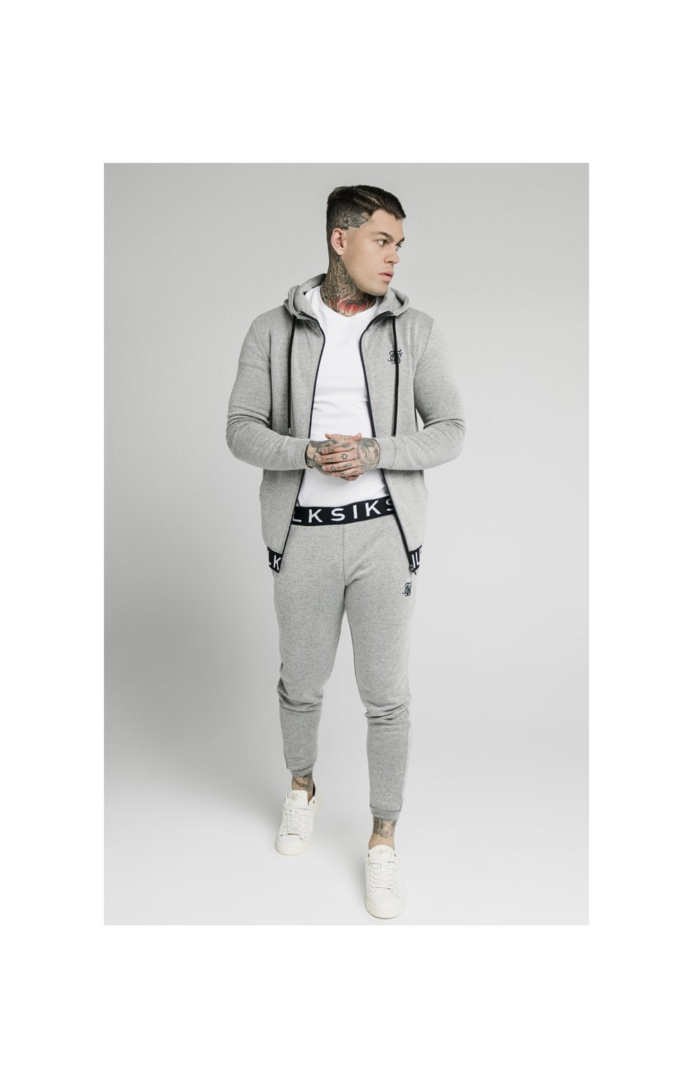 Load image into Gallery viewer, SikSilk Elastic Jacquard Pants - Grey (3)