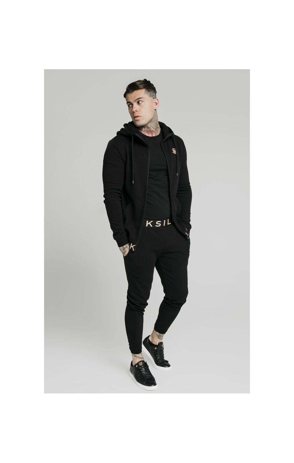 SikSilk Elastic Jacquard Zip Through Hoodie – Black (2)