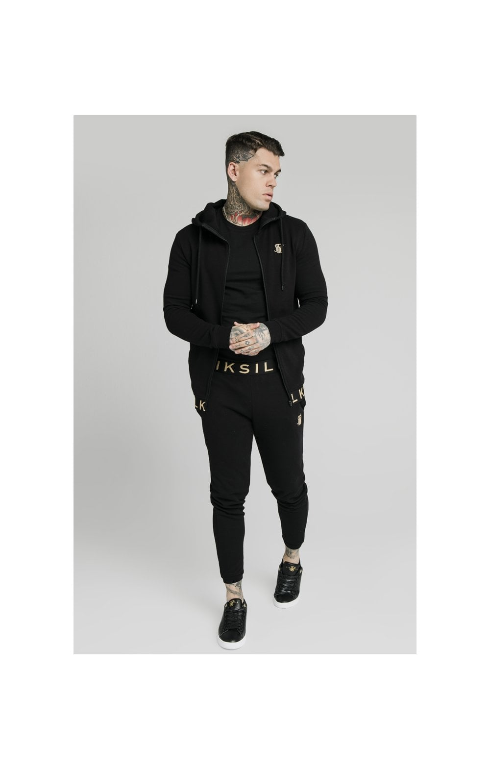 Load image into Gallery viewer, SikSilk Elastic Jacquard Zip Through Hoodie – Black (3)