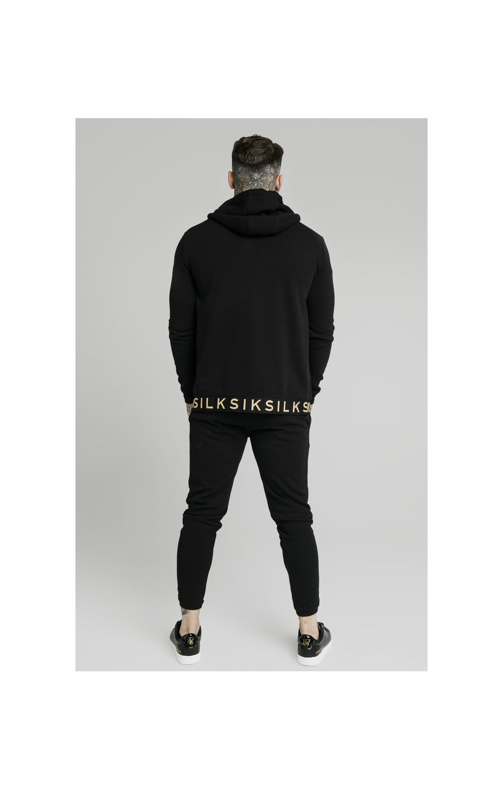 SikSilk Elastic Jacquard Zip Through Hoodie – Black (5)
