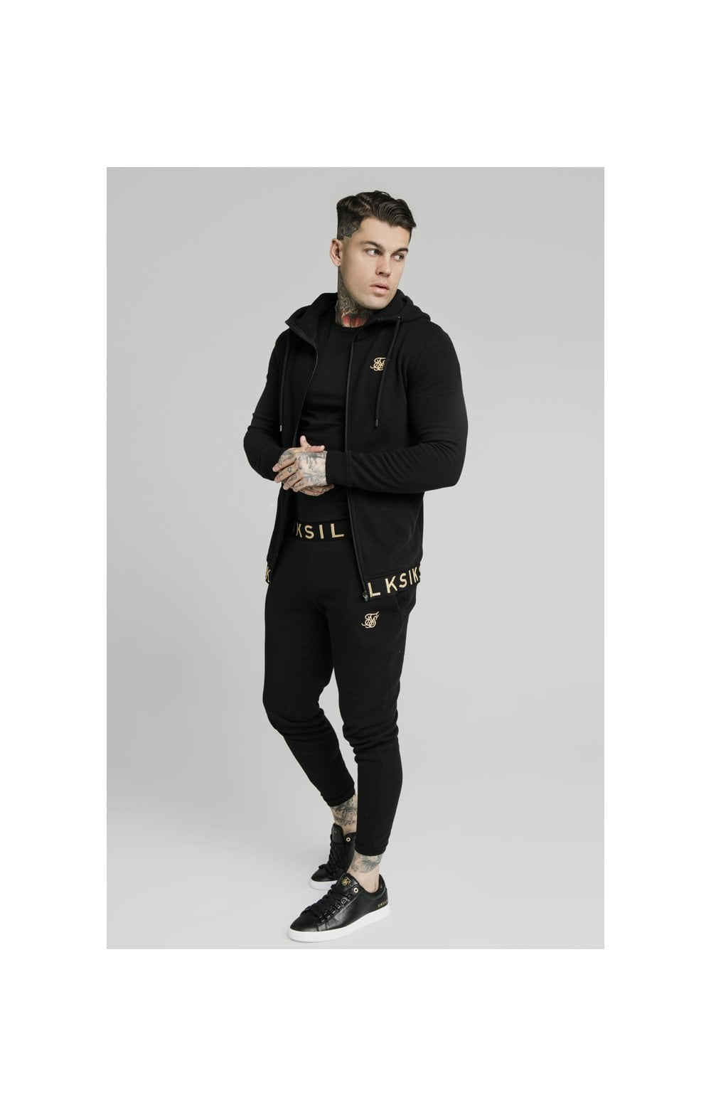 Load image into Gallery viewer, SikSilk Elastic Jacquard Zip Through Hoodie – Black (4)