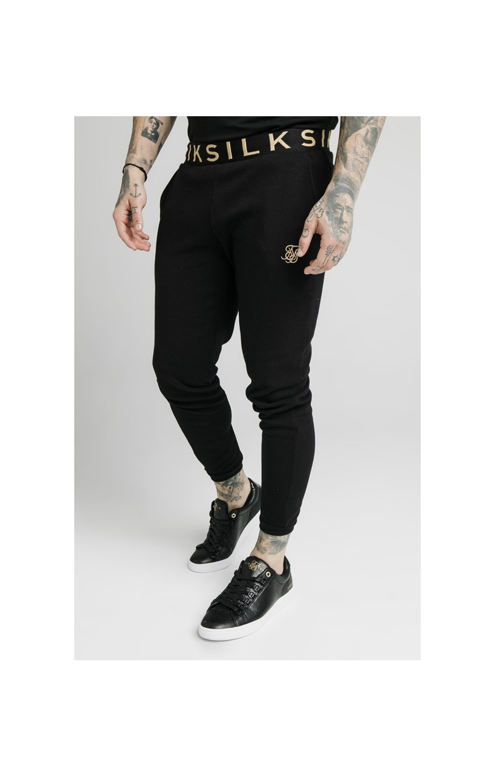 SikSilk Elastic Jacquard Pants - Black