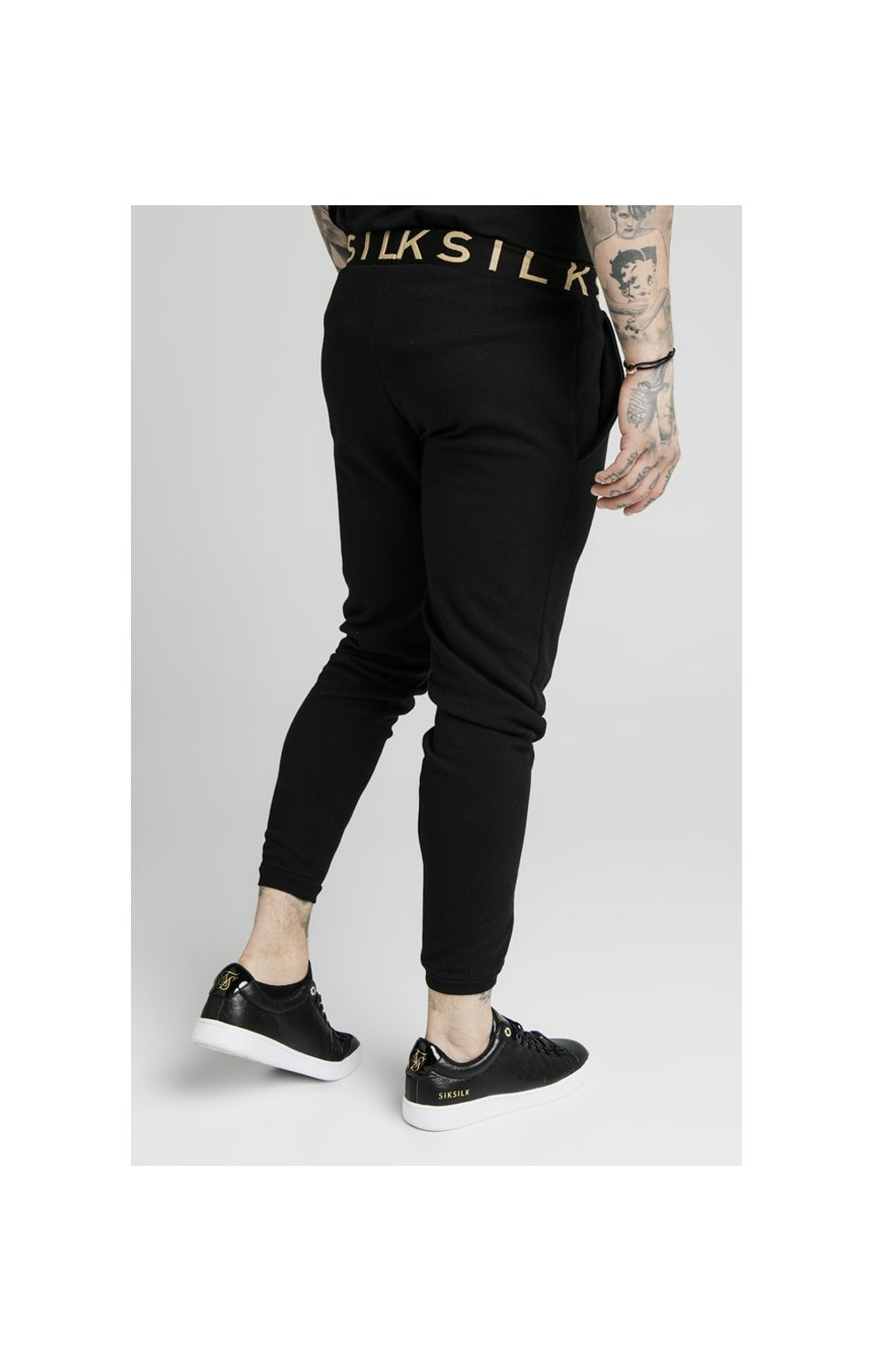SikSilk Elastic Jacquard Pants - Black (1)