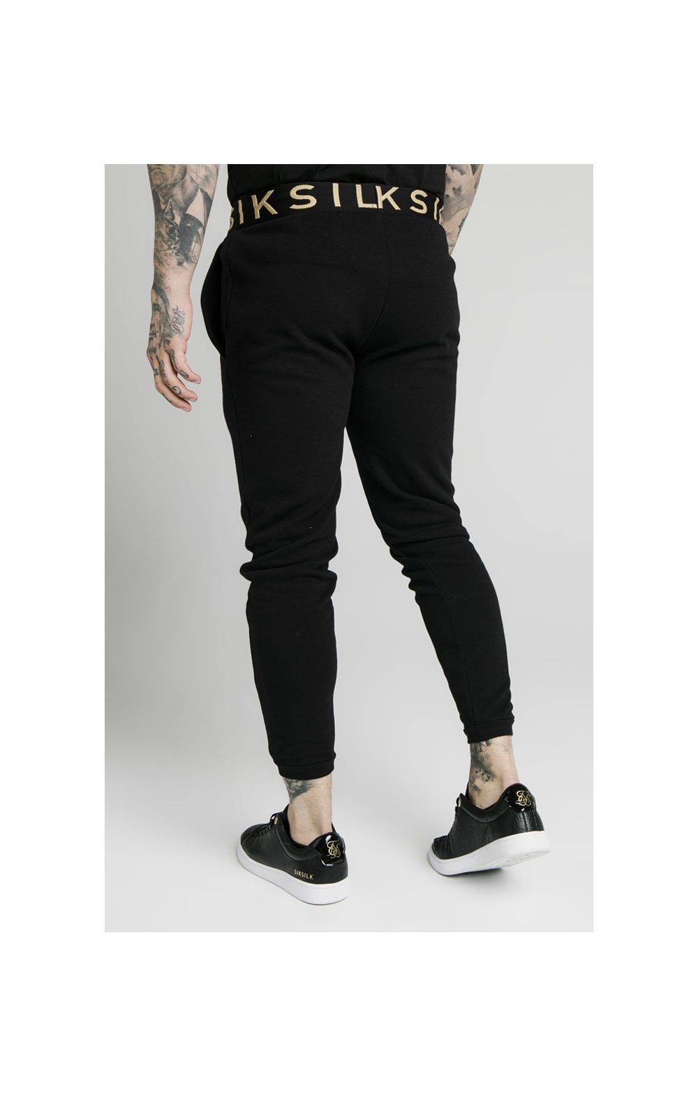 SikSilk Elastic Jacquard Pants - Black (2)