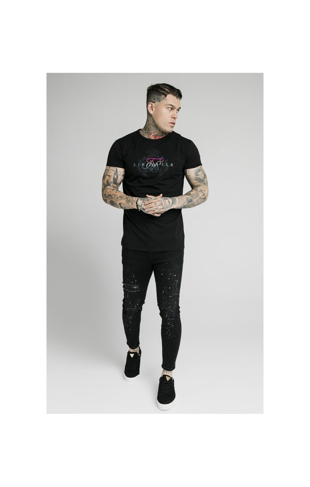 Load image into Gallery viewer, SikSilk S/S Fade Rhinestone Box Tee - Black (3)