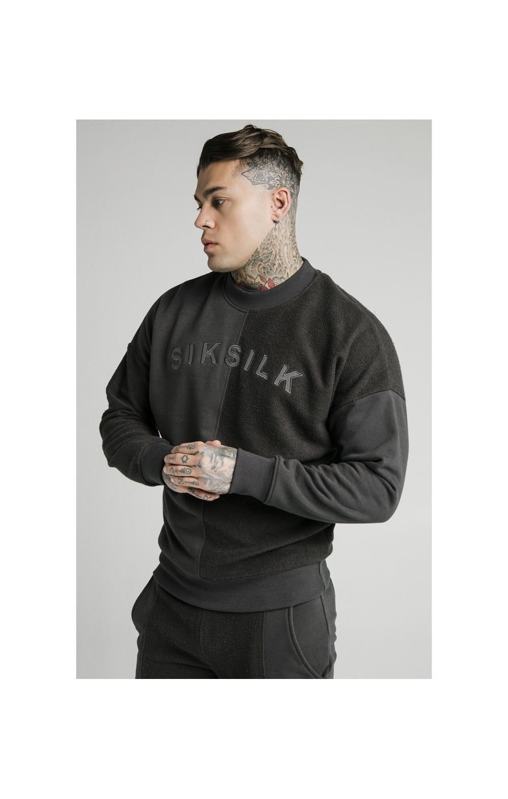 Load image into Gallery viewer, SikSilk Half & Half Crew Sweater – Washed Grey (1)
