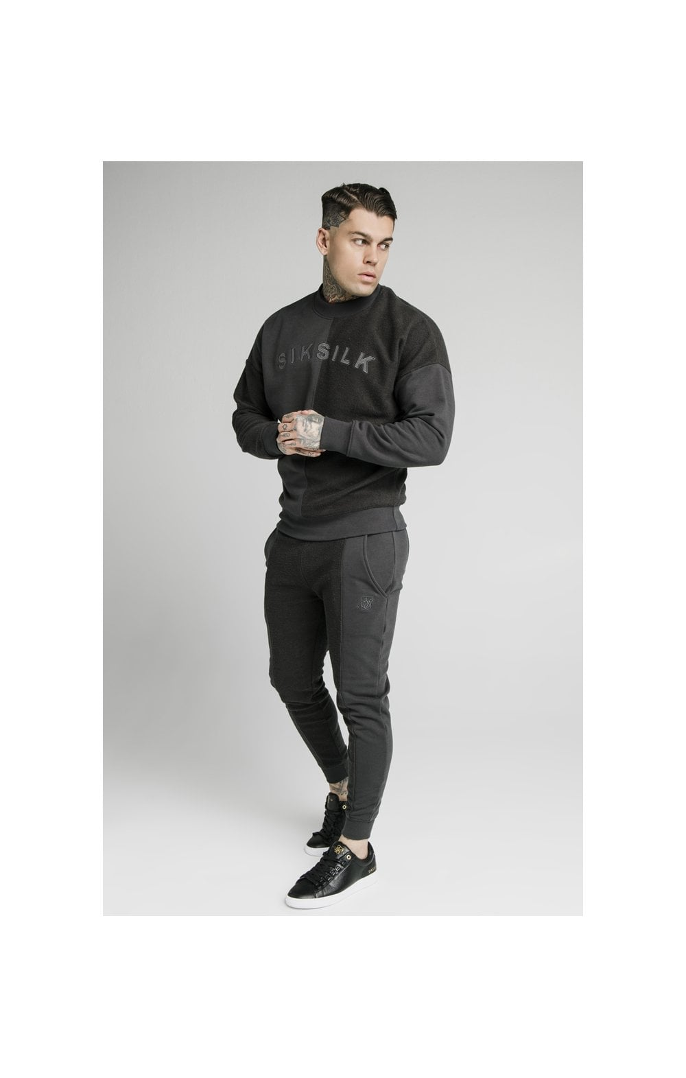 Load image into Gallery viewer, SikSilk Half & Half Crew Sweater – Washed Grey (2)