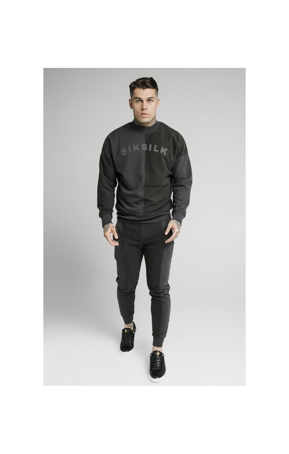 Load image into Gallery viewer, SikSilk Half & Half Crew Sweater – Washed Grey (3)