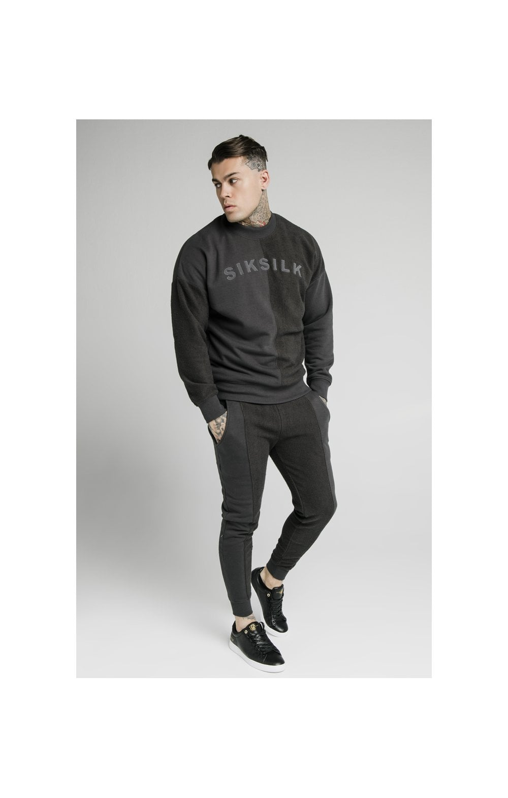 Load image into Gallery viewer, SikSilk Half & Half Crew Sweater – Washed Grey (4)
