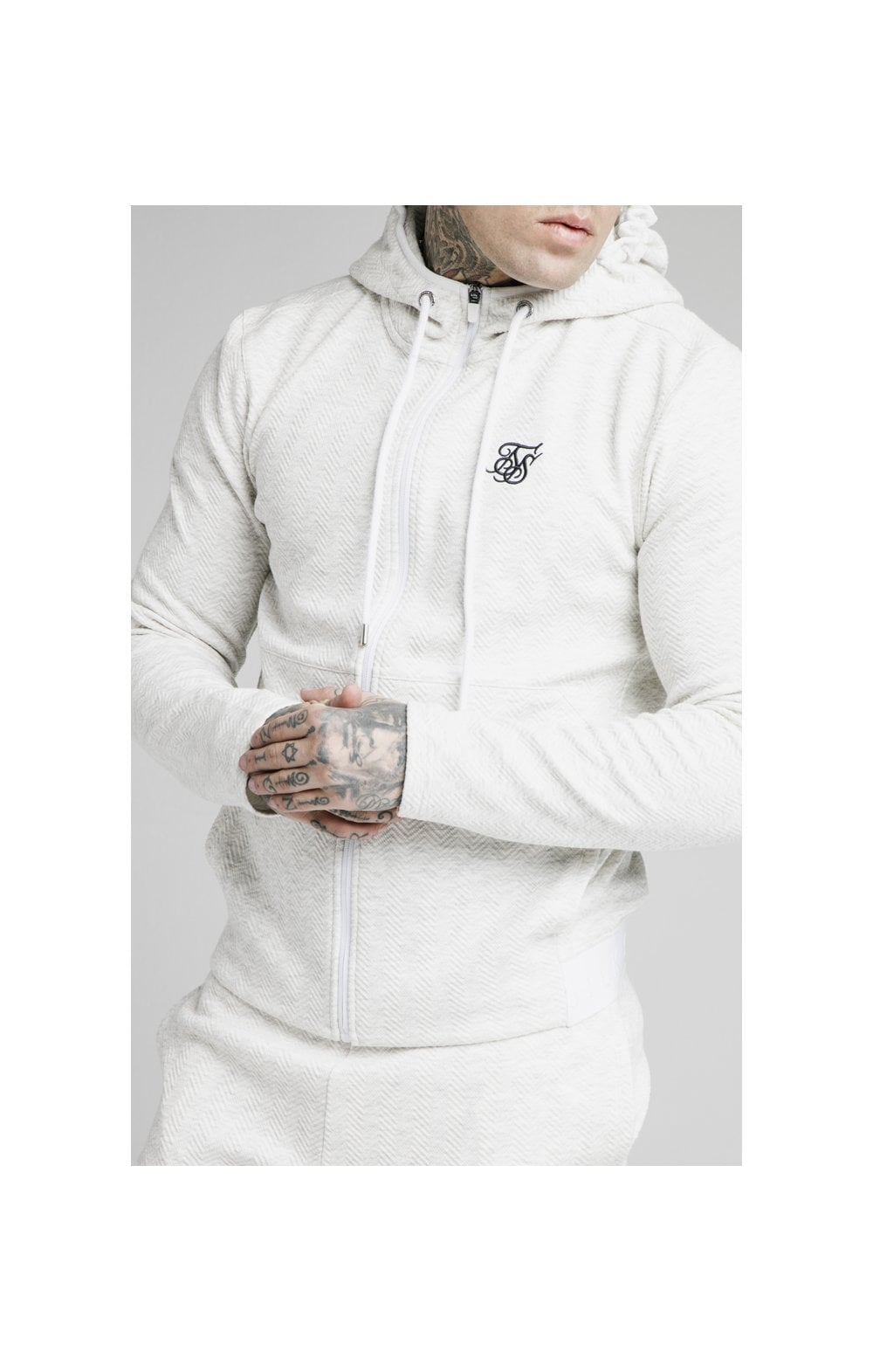 SikSilk Agility Textured Zip Through Hoodie – Snow Marl