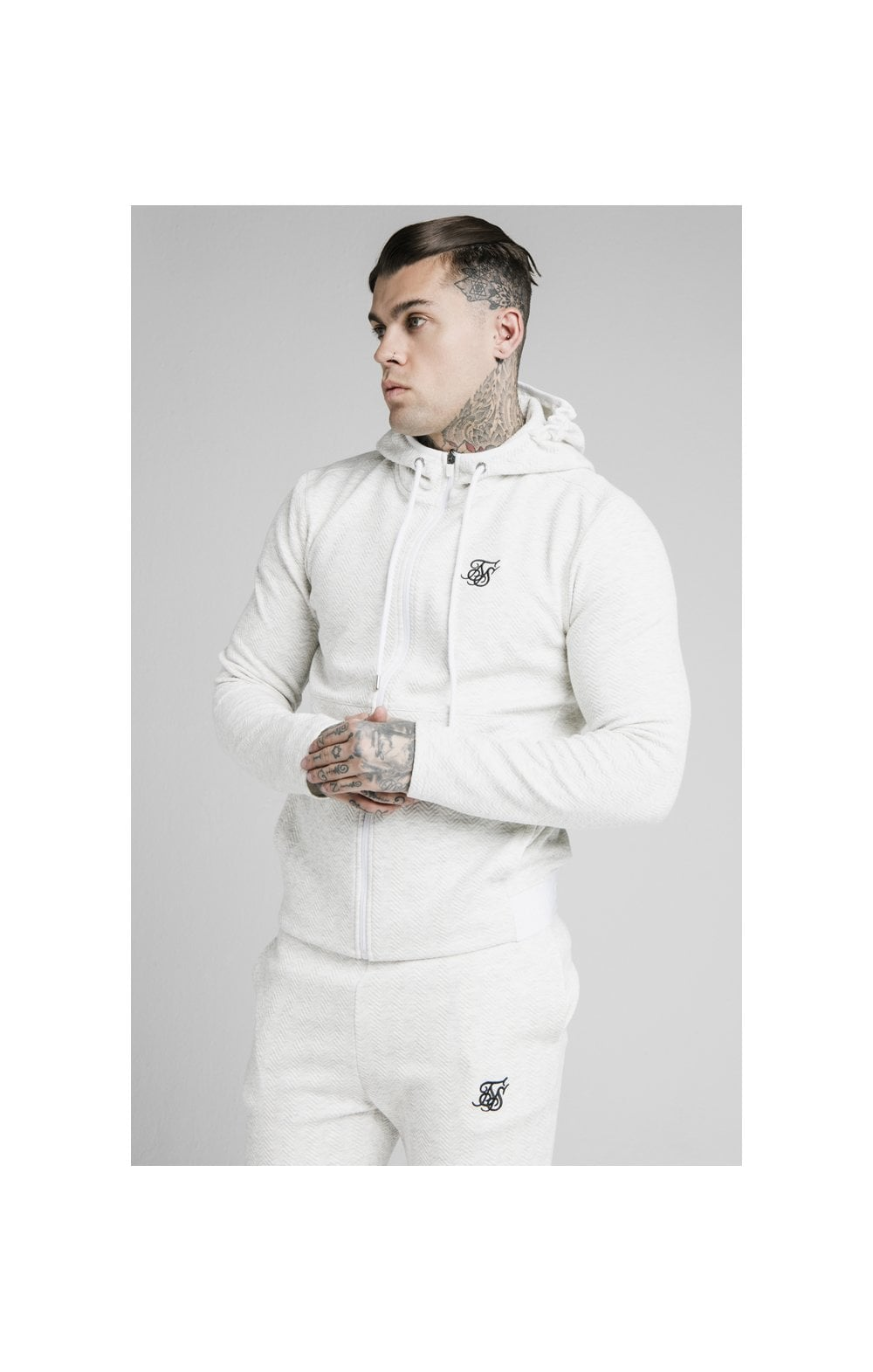 Load image into Gallery viewer, SikSilk Agility Textured Zip Through Hoodie – Snow Marl (1)