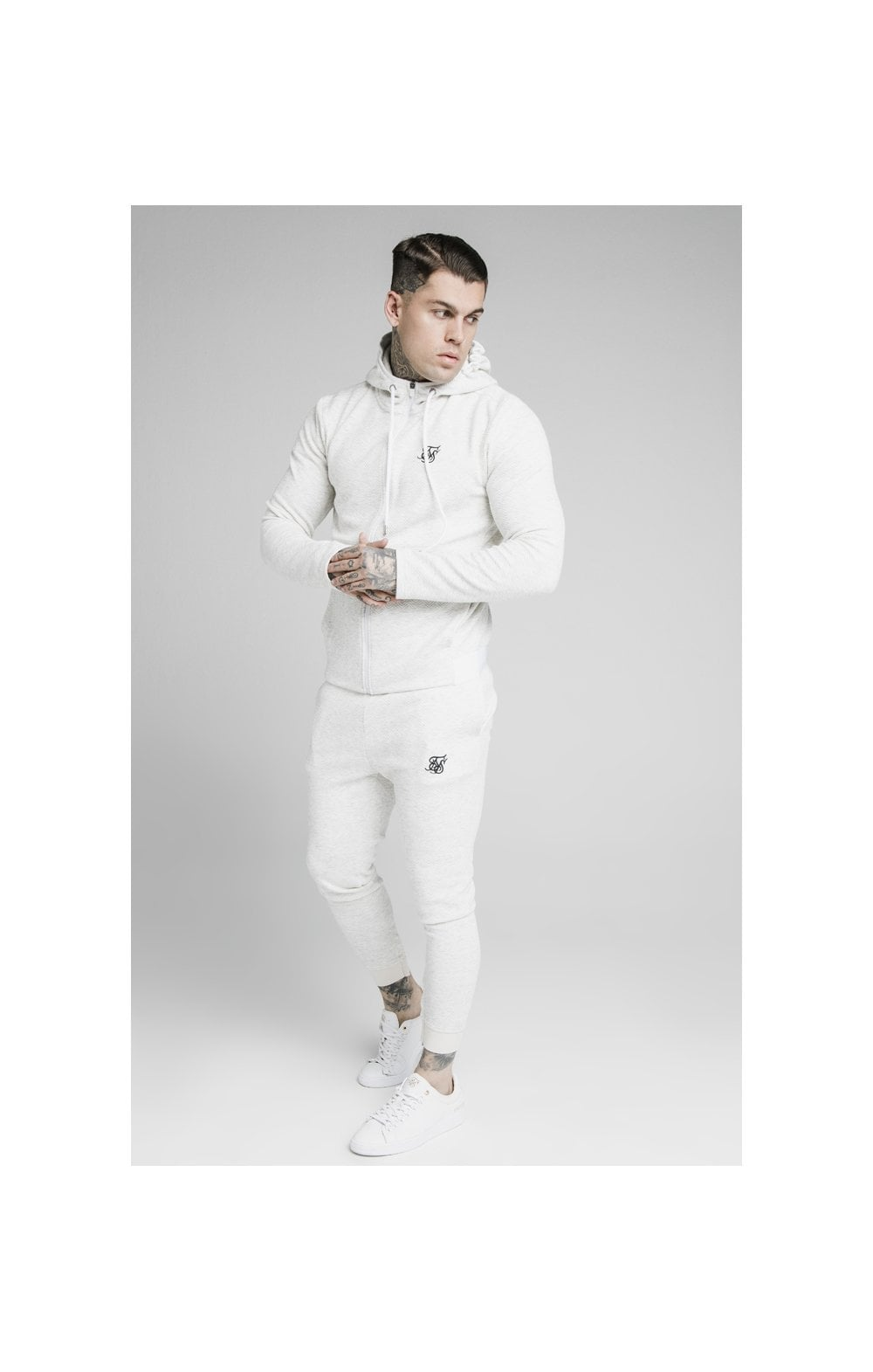 Load image into Gallery viewer, SikSilk Agility Textured Zip Through Hoodie – Snow Marl (4)
